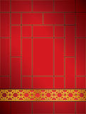 Rode goud van het achtergrond het Chinese roosterpatroon. Stock Fotografie