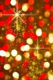 Rode gouden gloeiende achtergrond. Kerstkaart. Stock Fotografie