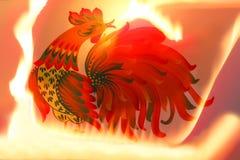 Rode gouden haan met brand Achtergrond stock illustratie