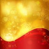 Rode gouden Kerstmisachtergrond met sneeuwvlokken en lichteffect Royalty-vrije Stock Afbeeldingen