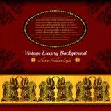 Rode gouden luxeachtergrond met bloempatroon Royalty-vrije Stock Afbeelding