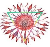 Rode gradiënt - bloemzonnebloem - kunstschets van tatoegering Royalty-vrije Stock Afbeeldingen