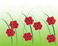 Rode grafische bloemen Stock Afbeelding