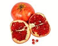 Rode granaatappel op witte achtergrond. Royalty-vrije Stock Foto