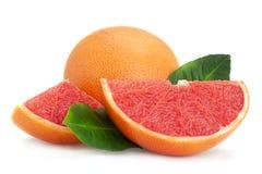 Rode grapefruit met blad stock foto