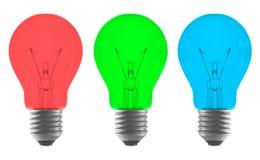 Rode groenachtig blauwe kleuren gloeilamp Stock Foto