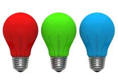 Rode groenachtig blauwe kleuren gloeilamp Royalty-vrije Stock Foto