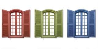 Rode groenachtig blauwe vensters Stock Foto