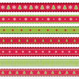 Rode groene Christmass-linten Royalty-vrije Stock Foto's