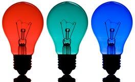 Rode, groene en blauwe lampen Stock Foto's