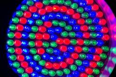 Rode, groene en blauwe leds Royalty-vrije Stock Foto