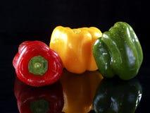 Rode, Groene en Gele Groene paprika stock afbeelding