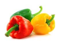 Rode, groene en gele groene paprika's Stock Foto's
