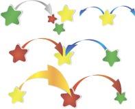 Rode, groene en gele stervormen over wit Vector Illustratie