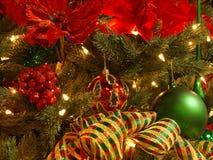 Rode, groene, gouden Kerstmis Stock Foto