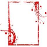 Rode grunge wervelt frame achtergrond Royalty-vrije Stock Foto's