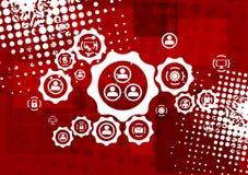 Rode grungehi-tech vectorachtergrond stock illustratie