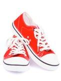 Rode Gymschoenen Stock Afbeeldingen