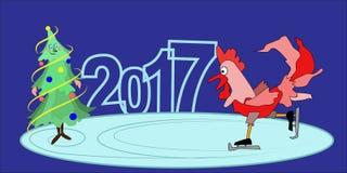 Rode haan - een symbool van 2017 Gelukkige Nieuwjaar rode haan Stock Foto's
