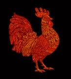 Rode haan, haansymbool van hinese Nieuwjaar 2017 Vector illustratie Royalty-vrije Stock Afbeeldingen