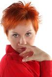 Rode haired bedrijfsvrouw stock afbeeldingen