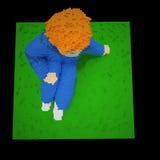 Rode haired jongen op het gras - 3d voxelart. Stock Fotografie