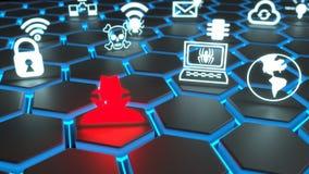 Rode hakker en witte veiligheidssymbolen die bij het zwarte gloeien drijven Stock Afbeeldingen