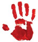 Rode handdruk op witte achtergrond Stock Foto