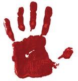 Rode handdruk op witte achtergrond stock afbeelding