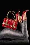 Rode handtas en pompen Stock Fotografie