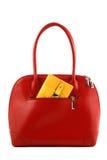 Rode handtas met portefeuille Stock Afbeelding