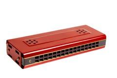 Rode harmonika die op wit wordt geïsoleerdd Royalty-vrije Stock Fotografie