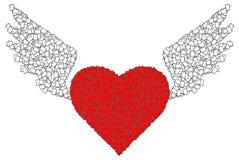 Rode hart en vleugel Stock Fotografie