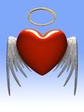 Rode hart-engel met vleugels die op gradiënt wordt geïsoleerda Stock Foto's