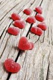 Rode hart gevormde geleisnoepjes Stock Fotografie