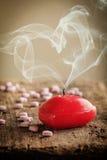 Rode hart gevormde kaars Royalty-vrije Stock Foto's