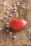 Rode hart gevormde kaars Royalty-vrije Stock Afbeeldingen
