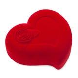 Rode hart-vormige buitensporige doos Stock Foto's