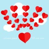 Rode hartballon die op de blauwe hemelachtergrond drijven royalty-vrije illustratie