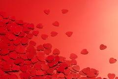 Rode hartconfettien Stock Fotografie