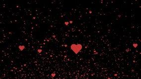 Rode harten die op de zwarte achtergrond vliegen De achtergrond van de de dagmotie van Valentine 4K stock footage