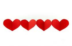 Rode harten die op witte achtergrond worden geïsoleerdo Royalty-vrije Stock Afbeeldingen