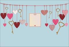 Rode harten en leeg document met een beeld en sleutels het hangen vector illustratie