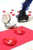 Rode harten met pen en inkt, en Klok Royalty-vrije Stock Afbeelding