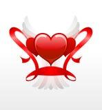Rode harten met witte vleugels Stock Foto