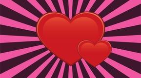 Rode harten met zonnestraal Stock Fotografie