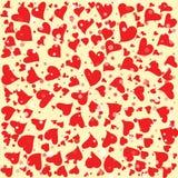 Rode harten om achtergrondmalplaatje Halftone cirkel vectorillustratie Royalty-vrije Stock Afbeelding