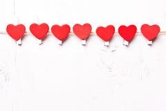 Rode harten op een rij Stock Afbeelding