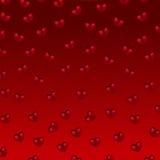 Rode harten op een rode achtergrond Stock Foto