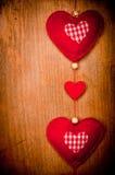 Rode harten op hout Royalty-vrije Stock Fotografie